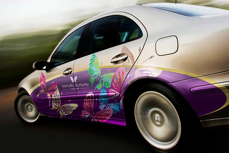 vehicle metallic ink graphics