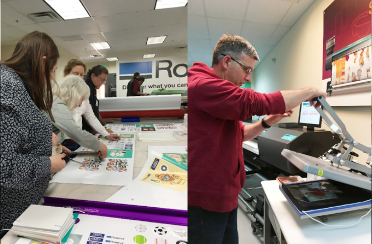 New England School District attendees printing and heat pressing