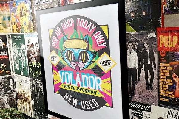 colorful music shop posters