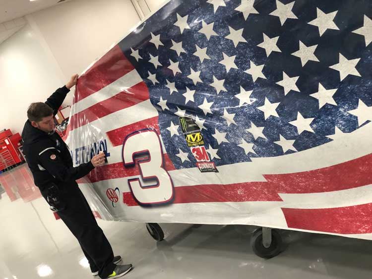 NASCAR vehicle vinyl wrapping