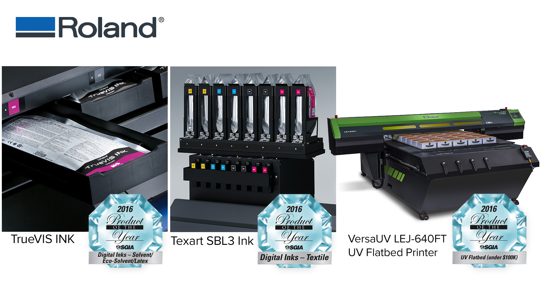 Roland SGIA 2016 Product of the Year award-winning products