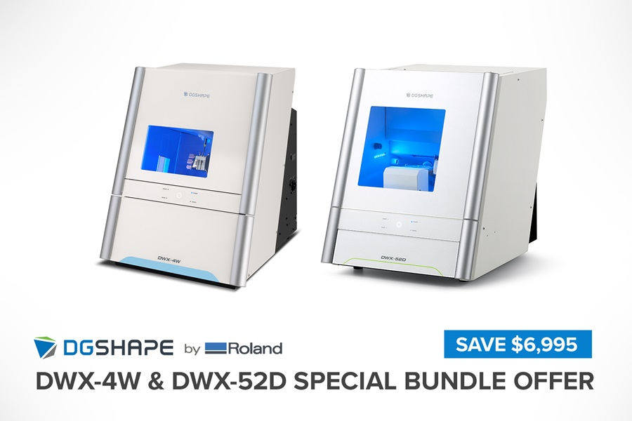 New DGSHAPE by Roland DWX-4W and DWX-52D milling machine bundle offer