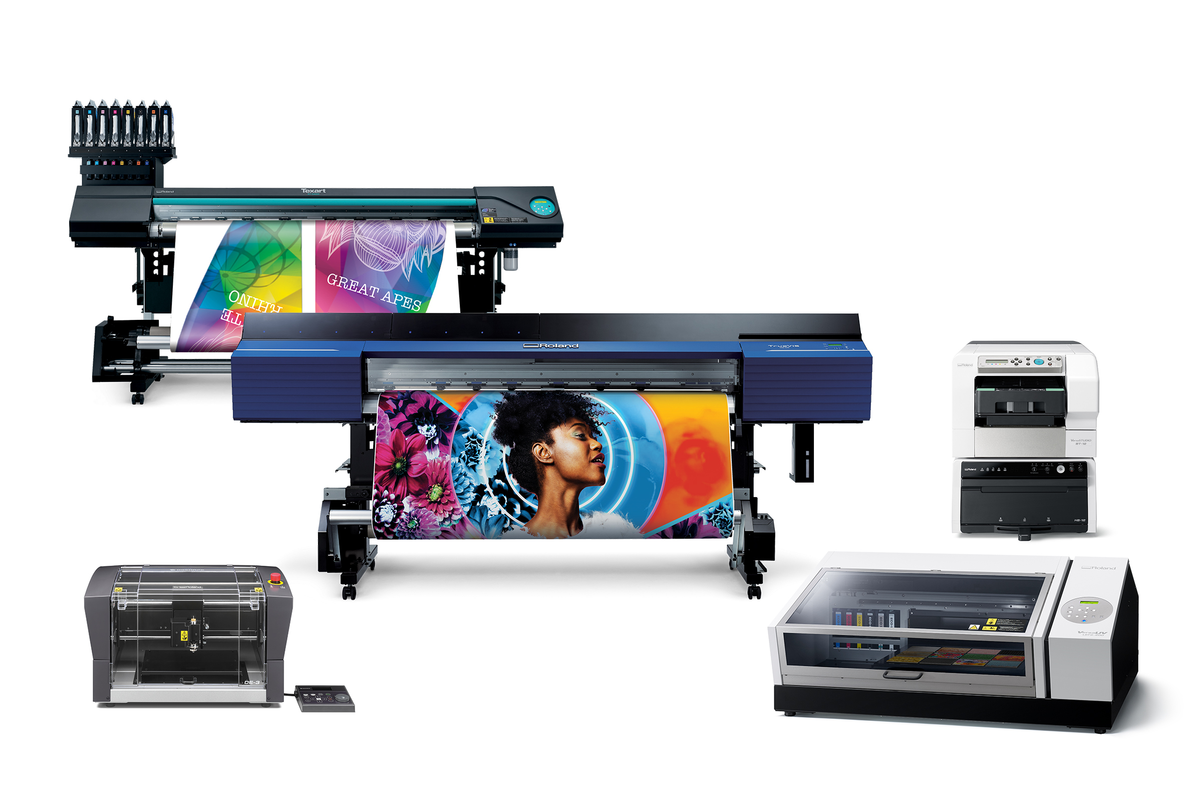 Photo of the five new products Roland DGA will be showcasing at the 2019 ISA International Sign Expo.