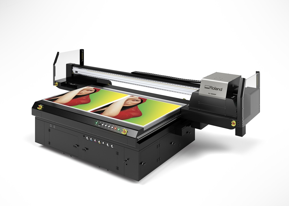 Roland DGA's newly launched IU-1000F high-volume UV flatbed printer.