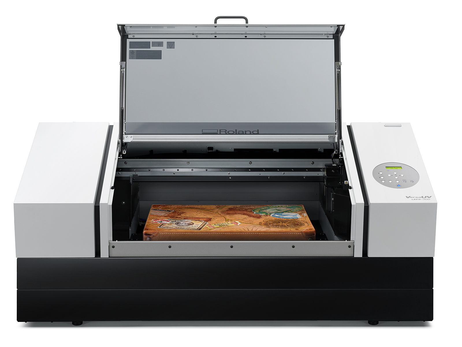 Image of the new Roland VersaUV LEF2-300D flatbed UV printer.