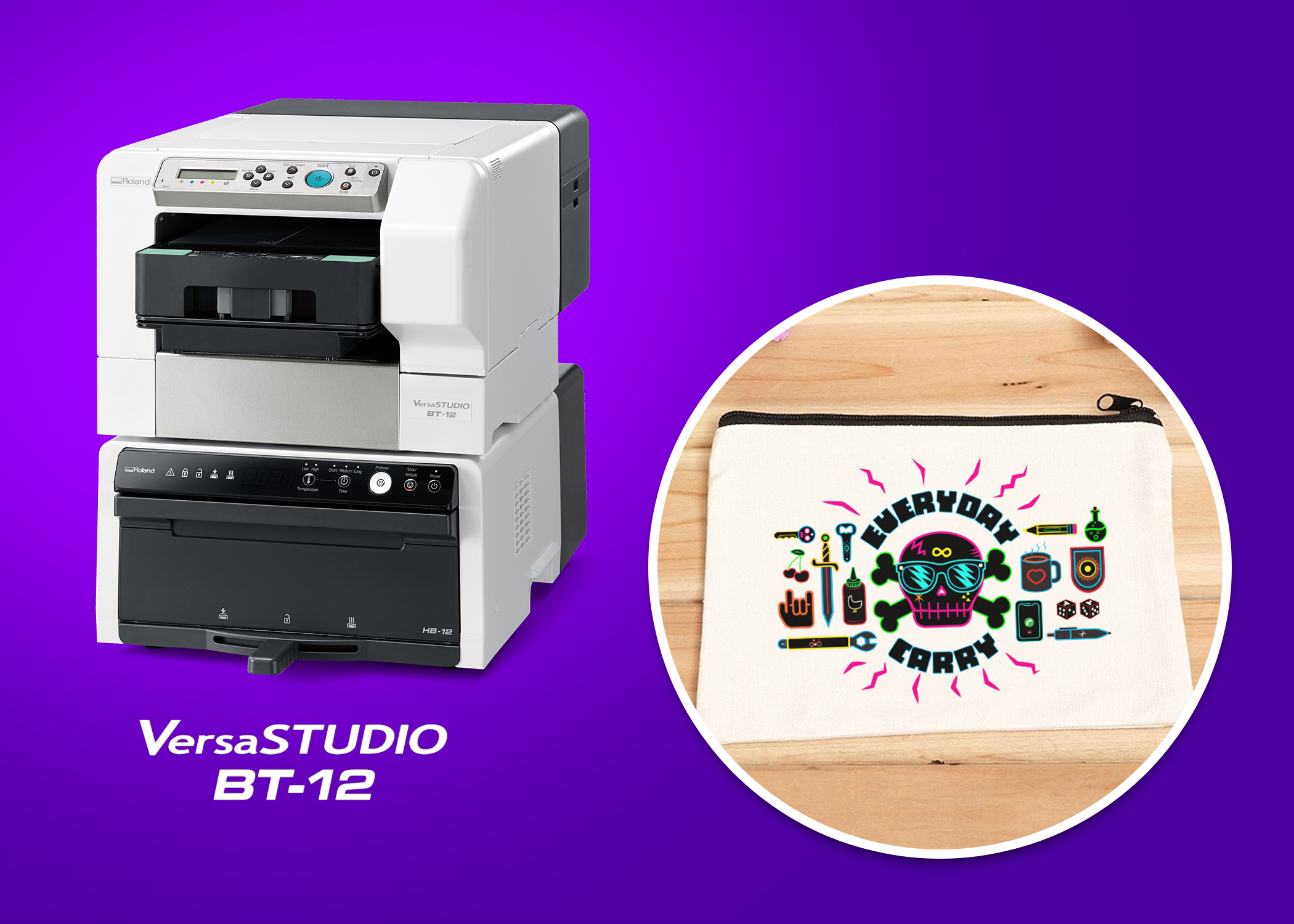 Roland DGA's VersaSTUDIO BT-12 direct-to-garment printer and Adobe MAX 2020 customized zippered pouch giveaway