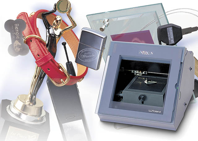 2000 The world's first photo-impact printer, the Roland MPX-50, opens up a world of possibilities for personalized pendants, souvenirs and gifts.