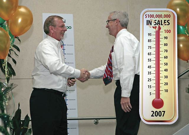 2007 Roland DGA achieves over $100 million in sales for the first time in history. Marking the occasion, CEO of over 25 years Bob Curtis, passes on the responsibility of President and CEO to former COO Dave Goward.