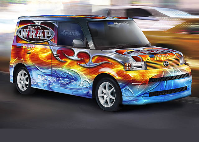 "2008 Roland DGA's ""Born to Wrap"" brand comes to life in tradeshows and ads throughout the year, highlighted by the Roland Scion wrap."