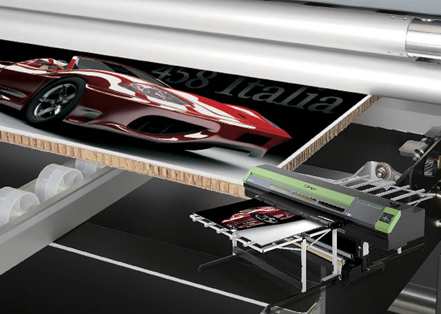 2011 Roland introduces its first flatbed printer, the VersaUV LEJ-640 hybrid flatbed,for printing on roll media or rigid substrates up to ½-inch thick and 64-inches wide.