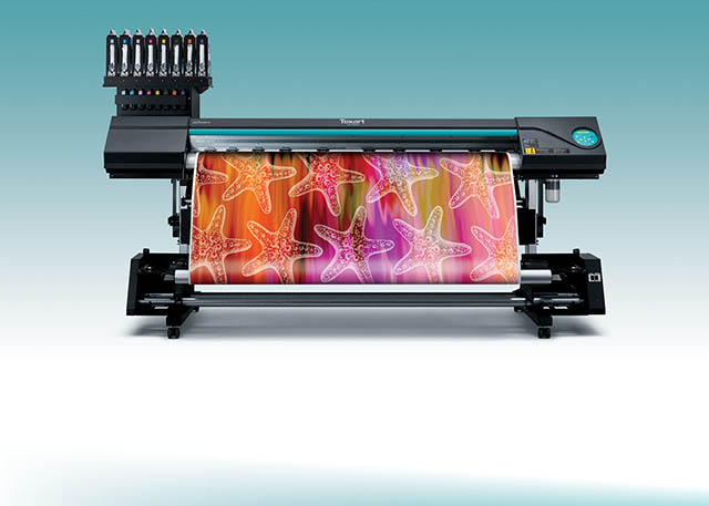 "2014 Roland offers a full sublimation solution with the new Texart™ RT-640 ""dye-sublimation printer, Texart ink and ErgoSoft Roland Edition RIP software for brilliant color and quality on textiles and hard goods."""