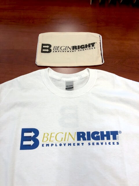 BeginRight Employment Services offers employees t-shirts and masks printed with its logo on the Roland DG BT-12 direct-to-garment printer.
