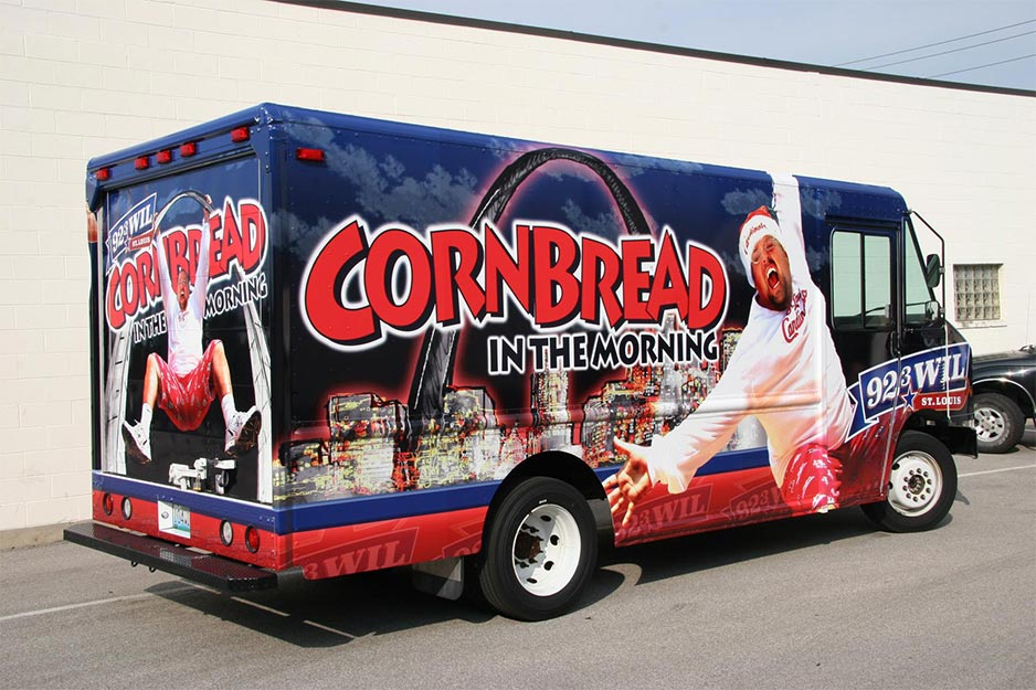 ADgraphix 92.3 WIL Cornbread morning show vehicle wrap