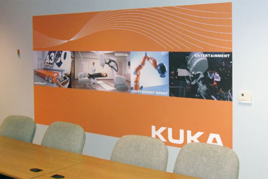 City Graphics VersaCAMM VS wall mural for Kuka Robotics