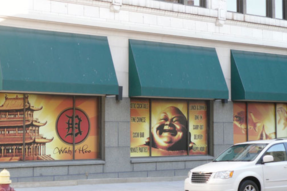 City Graphics VersaCAMM VS exterior window murals for Wah-Hoo restaurant