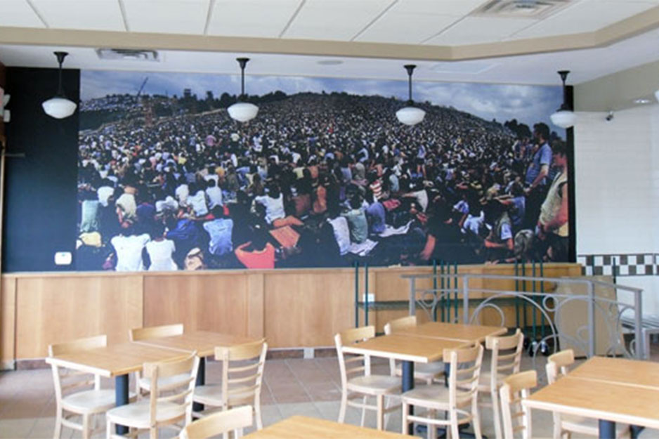 City Graphics VersaCAMM VS interior wall mural for Woodstock Burger Company