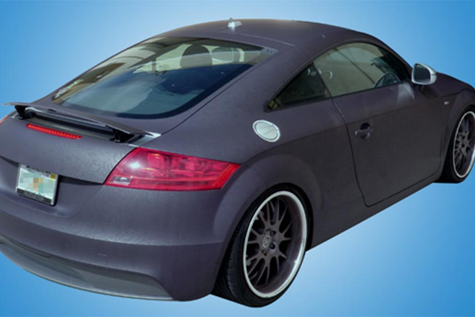 Epic Sign Studio matte finish wrap with metallic pattern on 2009 Audi TT