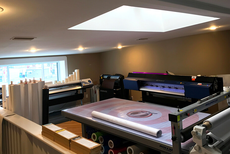 J Signs production area with Roland DG printer