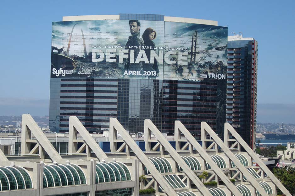 Off the Wall Signs building wrap for Defiance TV show