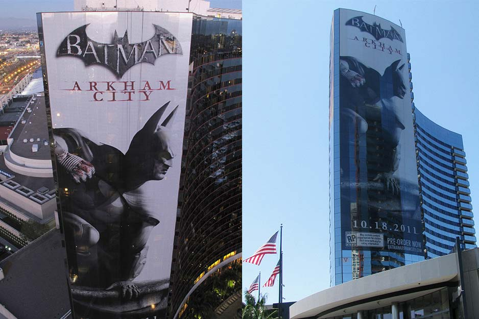 Off the Wall Signs building wrap for Batman: Arkham City video game at San Diego Marriott Marquis & Marina Comic-Con 2011