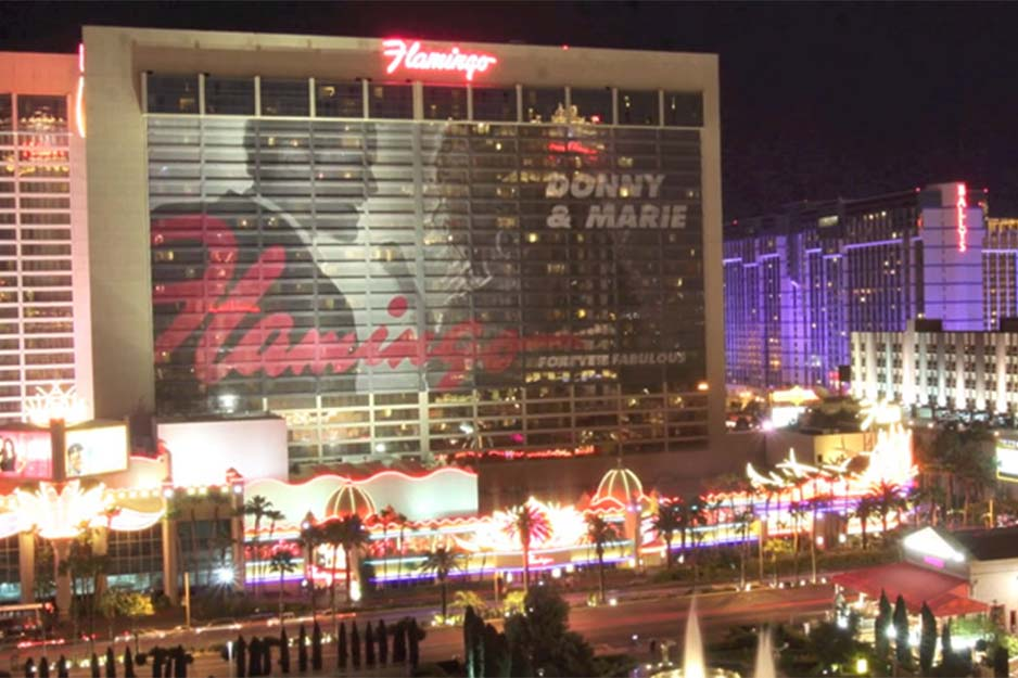 Off the Wall Signs building wrap for Donny & Marie at Flamingo Las Vegas