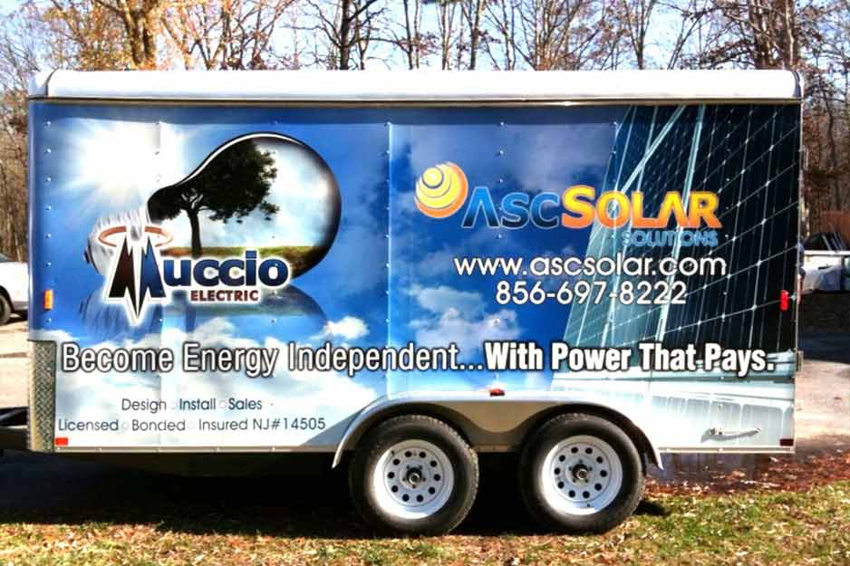 Sunrise Signs VersaCAMM trailer wrap for ASC Solar Solutions