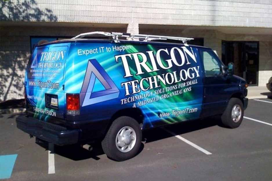 Sunrise Signs VersaCAMM vehicle wrap for Trigon Technology