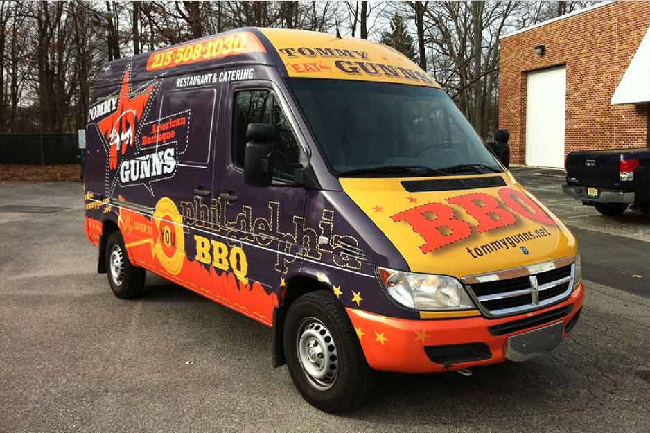 Sunrise Signs VersaCAMM vehicle wrap for TommyGunns BBQ & Catering