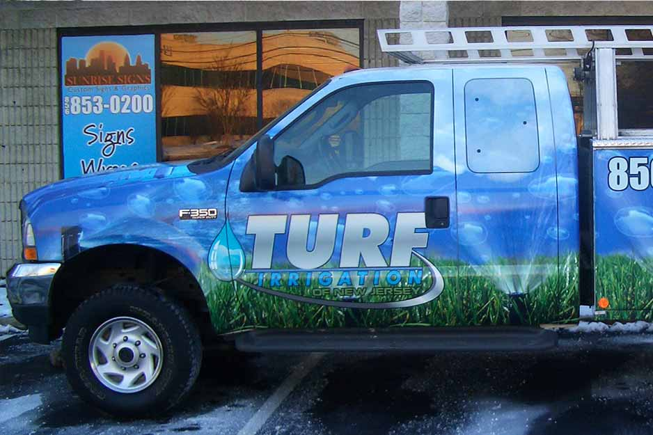 Sunrise Signs VersaCAMM vehicle wrap for Turf Irrigation of NJ