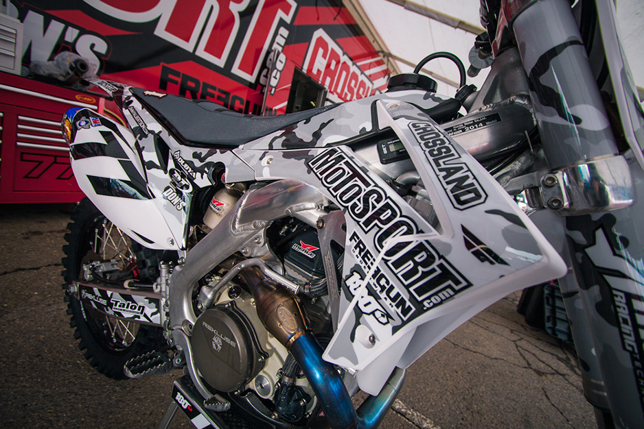 Image of red and silver motocross graphics
