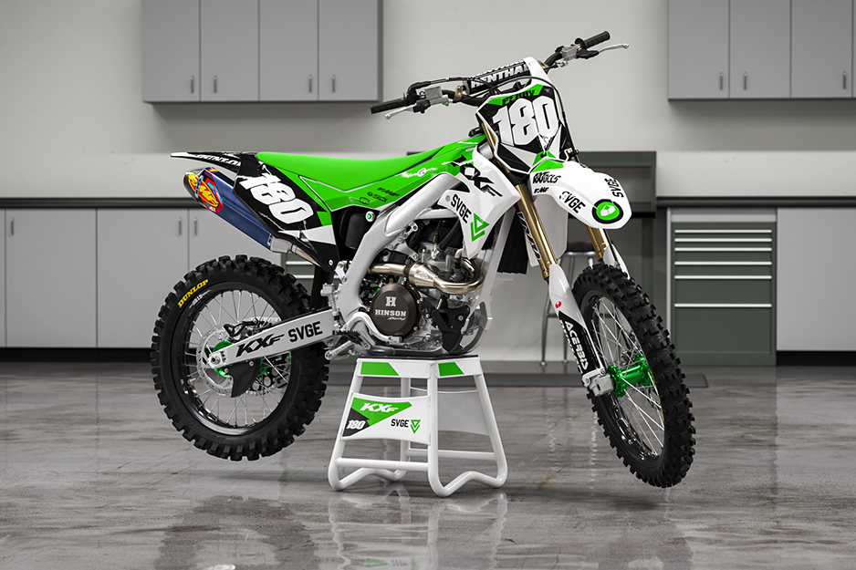 Motocross racing bike with bright green graphics