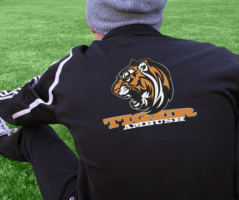 Apparel Transfer Jacket of School Mascot Tiger